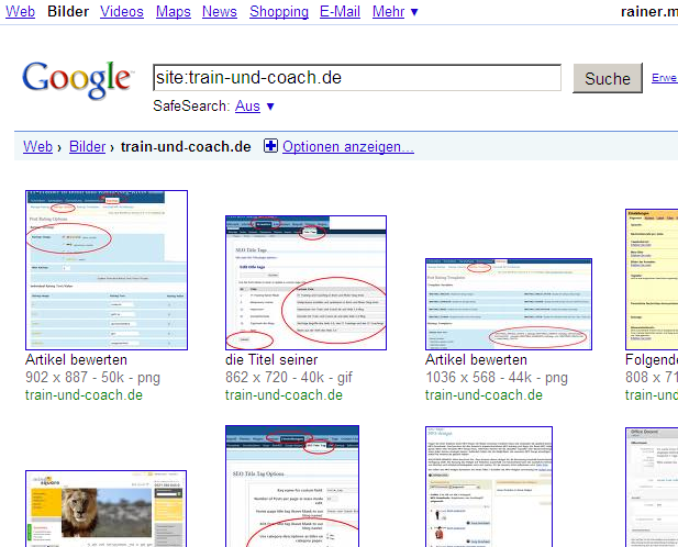 Google Bildersuche mit Site-Befehl